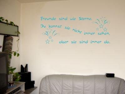 Wandtattoo / Wandaufkleber Zitat Freunde sind wie Sterne, …; Farbe Türkis