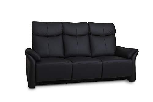 Ibbe Design Schwarz Leder 3er Sitzer Relaxsofa Couch mit Elektrisch Verstellbar Relaxfunktion Heimkino Sofa Luxor mit Fussteil, 205x92x107 cm