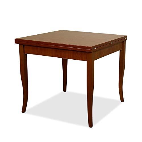 Tavolo da pranzo allungabile, in legno, dimensione: 90x 90cm - 180 cm da esteso, colore: noce antico