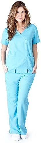 Ultra Soft Brand Scrubs Premium Womens Junior Fit Two Pocket Crossover Scrub Set Water Blue product image