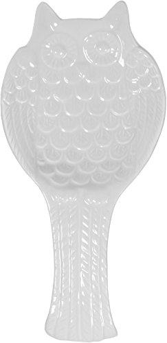 White Ceramic Owl Shaped Spoon Rest