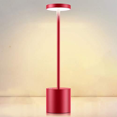 Lampada da Tavolo Senza Fili, Avere 2 Modalità di Illuminazione Luce di Lettura Dimmerabile, LED Lampada da Scrivania Ricarica USB in Metallo Creativa, Per Ristorante/Terrazza/Dormitorio (Vino Rosso)