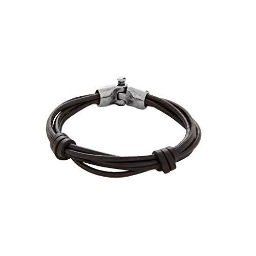 UNOde50 Pulsera de Hombre diseñada con Varias Vueltas de cordón de Cuero Anudado en Tono marrón Oscuro.