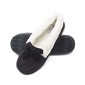 Jessica Simpson Womens Micro Suede Moccasin Indoor Outdoor Slipper Shoe
