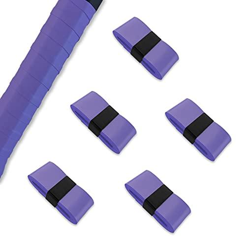 グリップテープ 5個/10個セット 10色 ウェット モイスト タイプ オーバーグリップ テニス バドミントン ゴルフ マイバチ ハンドル 他 (5個/バイオレット)