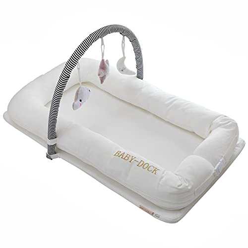 BABY-DOCK Newborn Lounger Baby Nest for Co-Sleeping - Soft, Breathable - Portable, Multifunctional - Machine Washable - White with a Changeable Cover, 3 Hanging Toys and Carry Bag