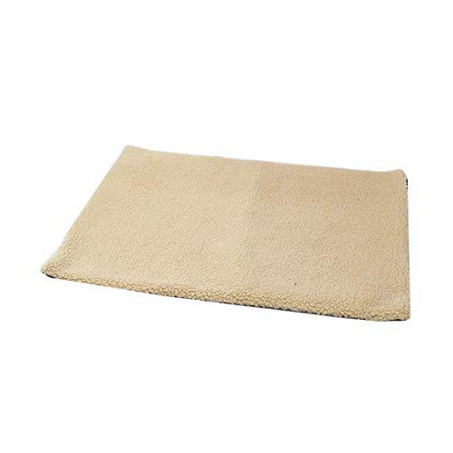 Almohadillas para mascotas con calefacción automática, suave, para calentar la cama del perro, gato, alfombra térmica con forro polar, color amarillo claro