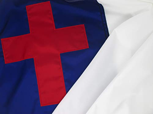 Christian Flag 4' by 6' Foot with Appliqued Christian Cross Tough Durable Fade Resistant Outdoor All Weather Nylon Made in USA