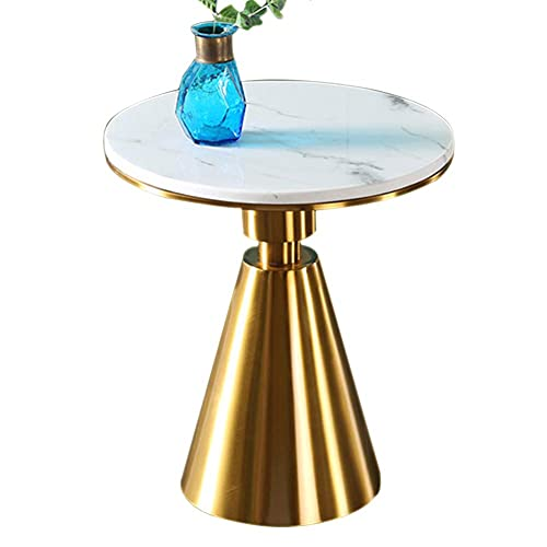 YVX Modern Round End Side Table for Living Room,Marble Nightstand with Gold Metal Stainless Steel Frame,Accent Furniture/Lamp Table for Home-50cm(19.6in)