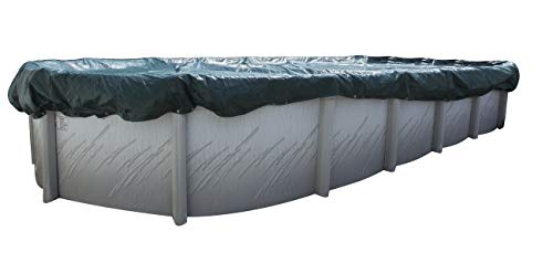 Buffalo Blizzard Split Blocker Winter Cover for 15-Foot-by-24-Foot Oval Above-Ground Swimming Pools | Green/Black Reversible | 4-Foot Additional Material | Rip-Proof Technology