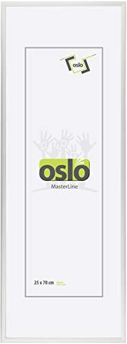 OSLO MasterLine Bilderrahmen 25 x 70 Silber Kunststoff schmal Echt-Glas Posterrahmen Panoramarahmen Collage-Rahmen