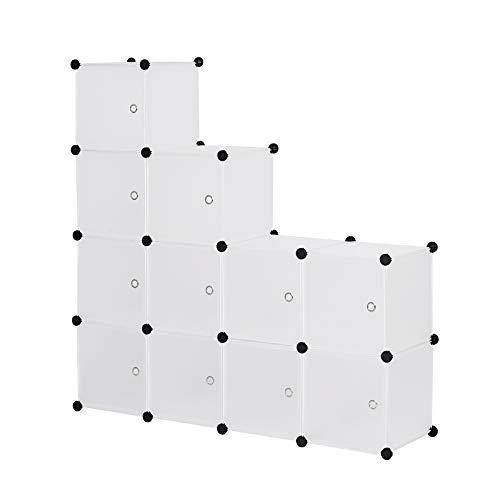 WOLTU SR0104tp DIY Armoire plastique chambre faite de modules avec porte pour le stockage de vêtements, accessoires, jouets, livres,chaussures,11 cubes Blanc