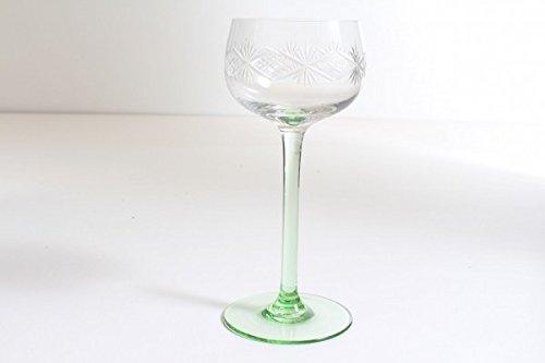 vintage13.de Weinglas Weinkelch Grün mungeblasen Abriß Um 1900 Jugendstil Römer Sternschliff