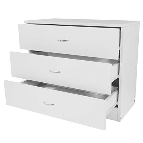 Coolife 3-Drawer Dresser White, Sofa End Tables,Wood Chest Cabinet,Modern Nightstands for Bedroom, Hallway, Entryway