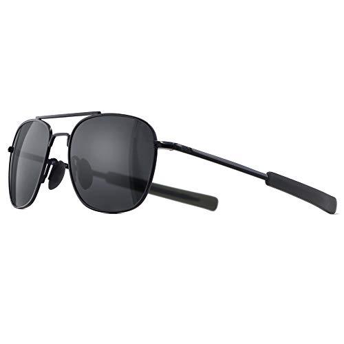 SUNGAIT Men's Military Style Polarized Pilot Aviator Sunglasses - Bayonet Temples (Black Frame/Gray Lens, 55) A285HKHU