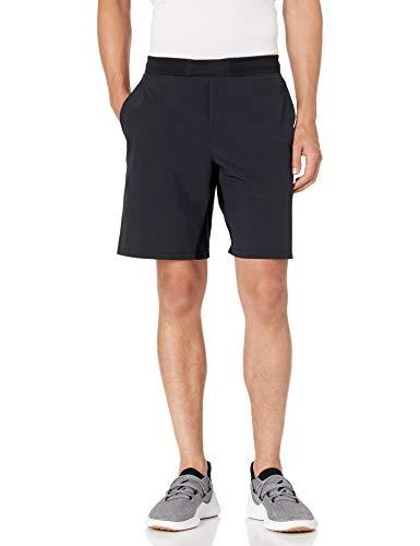 Amazon Brand - Peak Velocity Men's 9'' Knit Waistband Training Short, Black, Medium
