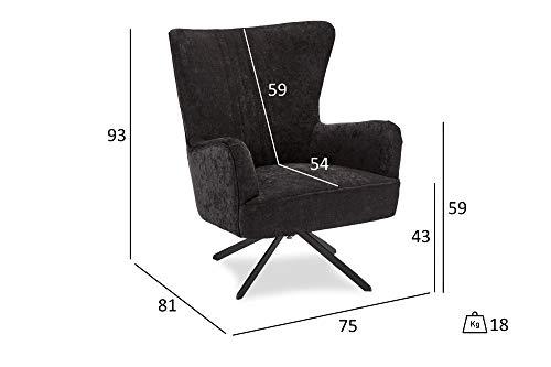PKline Bobby Sessel mit Drehfuss schwarz Fernsehsessel Relaxsessel Liegesessel Lounge