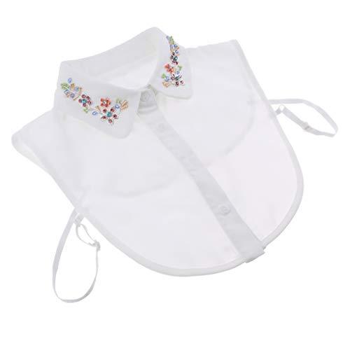 Damen Kragen Abnehmbare Bluse Half Shirts Blusenkragen Shirtkragen Topkragen mit Perlen/Strass Stickerei Deko - 02