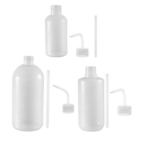 Sourcing Map Kunststoff-Waschflasche, Quetschflasche, 250 ml + 500 ml + 1000 ml, schmale Öffnung, Flüssigkeitsaufbewahrung, Bewässerungswerkzeug, 3 Stück