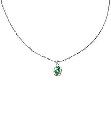 Linea Italia Gioielli - Collana Girocollo per Donna in Argento 925 con Medaglietta Madonna Verde - Made In Italy