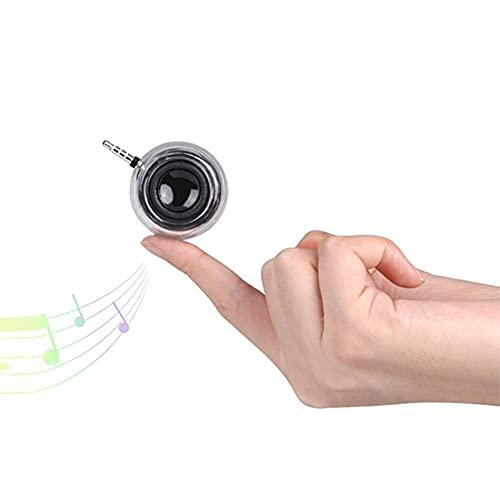 ZEREA Altavoz pequeño, mini altavoces Super Bass Sound, altavoz con entrada auxiliar de 3,5 mm y micrófono para iPhone, iPad, etc., negro transparente