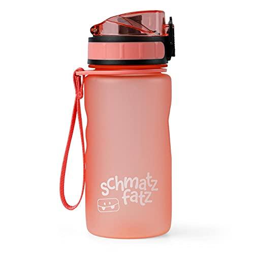 schmatzfatz - Botella deportiva a prueba de fugas para niños, libre de BPA, 350 ml, con infusor para fruta, cierre de 1 clic, botella infantil para colegio y guardería (Coral)