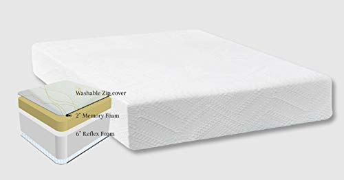Revive Direct 8' All Foam Mattress 2' Memory Foam with 6' Reflex Foam Mattress comes with a Zip Cover - 5ft King Size (150cm x 200cm)