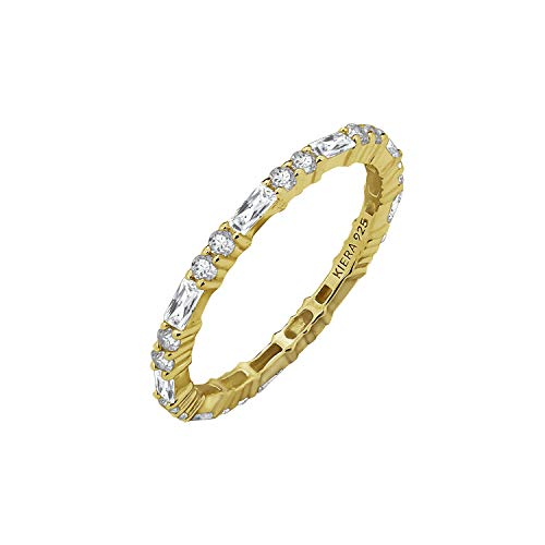 KIERA COUTURE RING BAR White Baguette Cut Yellow Gold Plated Sterling Silver Eternity Band Ring Size 7