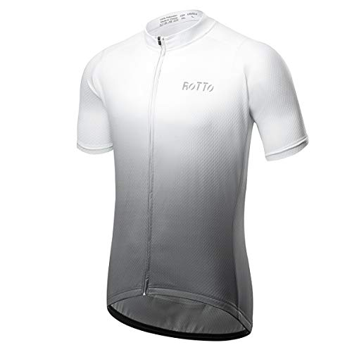 ROTTO Radtrikot Herren MTB Rennrad Trikot Kurzarm Fahrradbekleidung (D Weiß-Grau, XL)