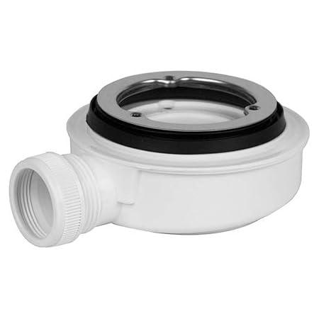 Válvula de Desagüe para Platos de Ducha | Sifón para plato de ducha- 140 mm de diámetro | Aro de Sujeción de Acero Inoxidable brillo con fijación mediante 3 Tornillos | Con Contenedor de Residuos
