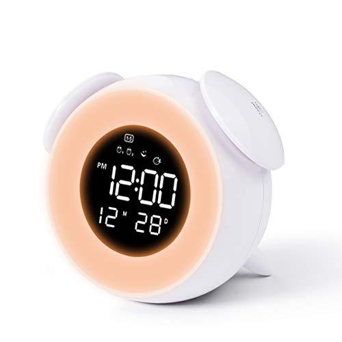 CHEREEKI Despertador Infantil, Reloj Despertador para Niños con 4 LED de Brillo/7 Colores/Dual Alarma/25 Musica, Despertador Niña con Control táctil (Blanco)