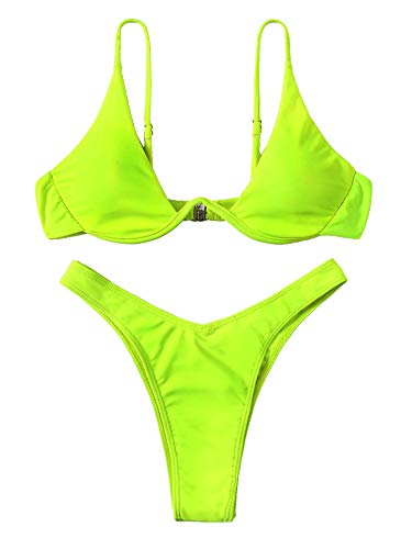 Verdusa Women's Sexy Triangle Bathing Two Pieces Swimsuit Bikini Set Neon Green M
