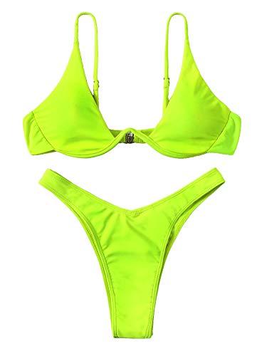 Verdusa Women's Sexy Triangle Bathing Two Pieces Swimsuit Bikini Set Neon Green L