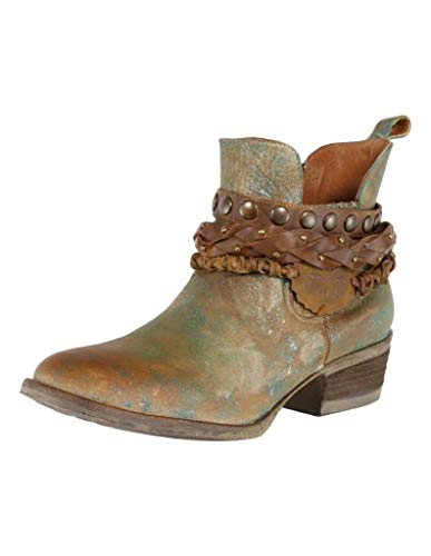 Corral Women's Green Harness & Stud Details Round Toe Leather Western Ankle Cowboy Boots - 10 B
