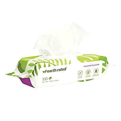 Earth Rated Dog Wipes - 100 Compostable Pet Grooming Wipes For Dogs - USDA-Certified 99 Percent Biobased - Hypoallergenic, 20x20cm Lavender Scented Cleaning Wipes For Paw, Tushie, Bum, Ear