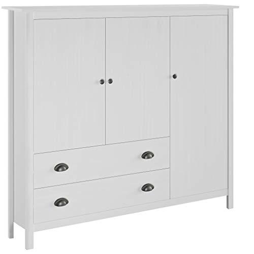 pedkit 3-dörrars garderob klädskåp för vardagsrum, kök, entré kulle räckvidd vit 142 x 45 x 137 cm massivt furu