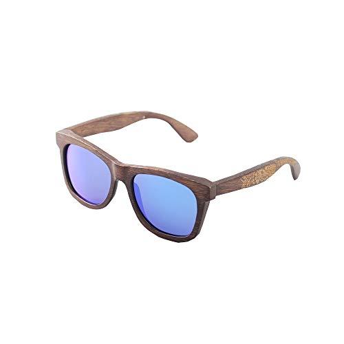 DKEE Gafas de Sol Nuevas Gafas De Montura De La Personalidad De La Moda De Bambú Que Conducen Las Gafas De Sol Polarizadas Protección UV400 (Color : Blue)