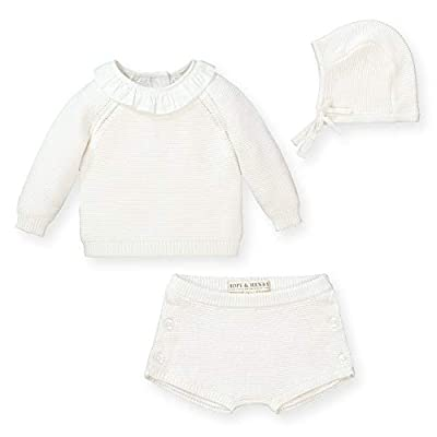Hope & Henry Layette Long Sleeve Sweater, Bloomer, and Bonnet 3-Piece Set