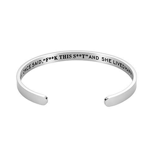 Octamber Inspirational Bracelet for Friend BFF Besties Engraved Mantra Cuff for Daughter Son Birthday Christmas Bangle Jewelry for Women Girlfriend Wife Her Silver