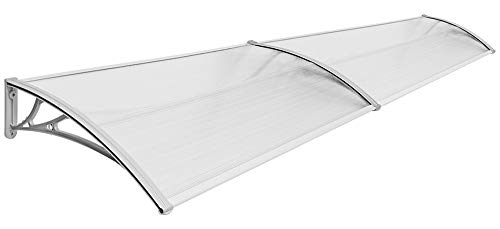 Vordach Haustür Terrassentür Überdachung Haustürdach Pultvordach Alu Kunststoff V2Aox Größenauswahl Farbauswahl, Auswahl:80 x 240 cm - transparent
