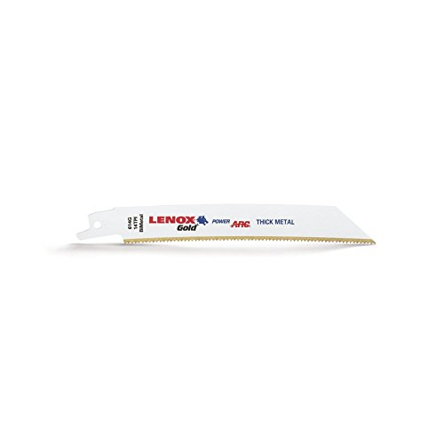 LENOX Tools 21081B614GR Gold Power Arc Reciprocating Saw Blade, For Thick Metal, Medium Metal Cutting, 6-inch, 14 TPI, 25-Pack