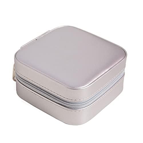 PHILSP Caja de joyería impermeable pequeña mini orejeras lápiz labial anillos pulseras organizador de almacenamiento espejo incorporado organizador de escritorio gris plata