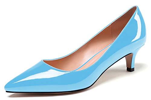 Soireelady Damen Spitzschuh Kitten Mid High Heels, Comfort Slip On, Pumps für Hochzeitsbürokleid, 5cm Pumps mit Absatz Hellblau EU39