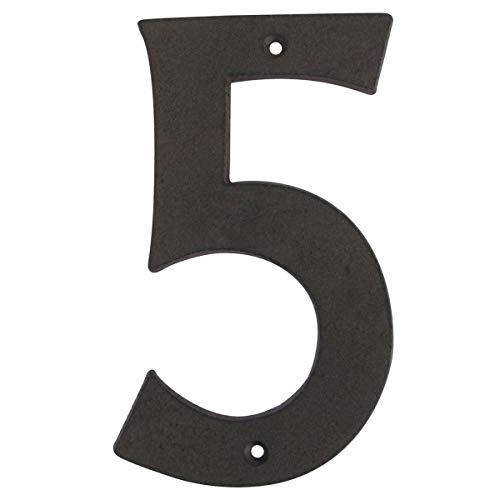 "Treasure Gurus 6"" Rustic Brown Cast Iron Metal House Address Number 5 Business Phone Numbers #5"