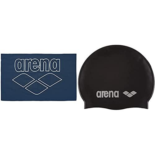 ARENA Toalla de Microfibra Pool Smart + Classic Gorro De Natación, Unisex Adulto, Negro (Black/Silver), Talla Única