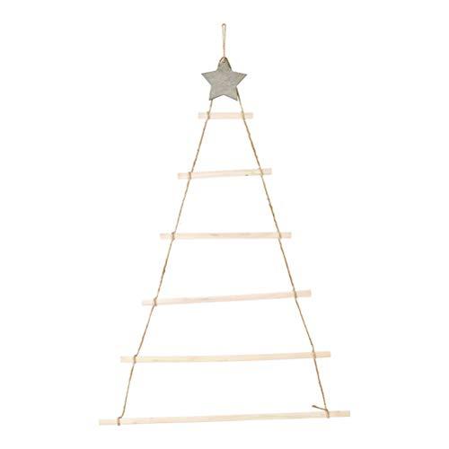 MOTOULAX Escalera Nórdica de Pared de Madera Escalera Colgante Decoración Navideña, Adornos Colgantes en Forma de árbol de Navidad DIY con Estrella y Cuerda, Decoración Creativa para Pared, Puerta