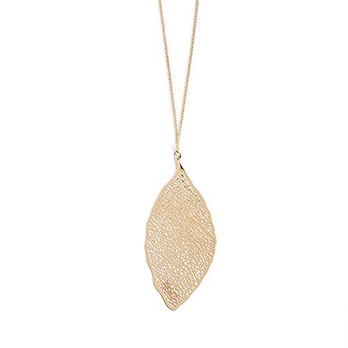 Moda Oro Plata Color Hueco Collar de Hojas Colgante Para Las Mujeres Collar de Cadena Larga Joyería Oro