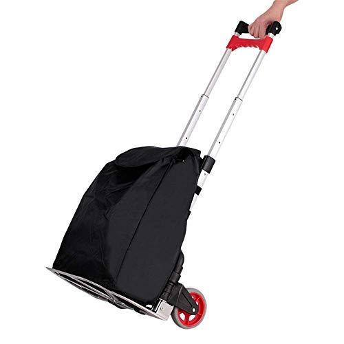 GUONING-L Rueda Carrito de la compra plegable de aluminio de aleación Negro bolsa de tela Compras Escalada Carro de la compra con 2 ruedas for el hogar Ligera Carrito de la compra (Color: Negro, tamañ