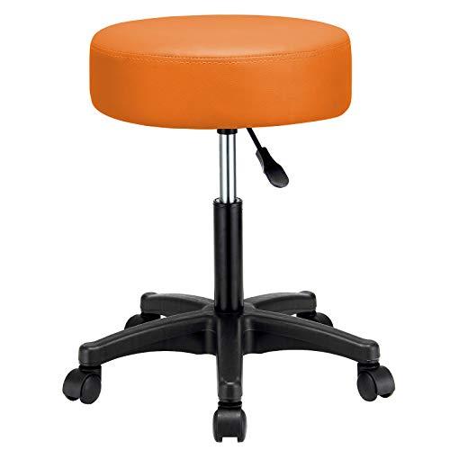 Casaria Rollhocker Arbeitshocker Orange Höhenverstellbar 360° Drehbar 10cm dicke Polsterung Drehhocker Praxis Hocker
