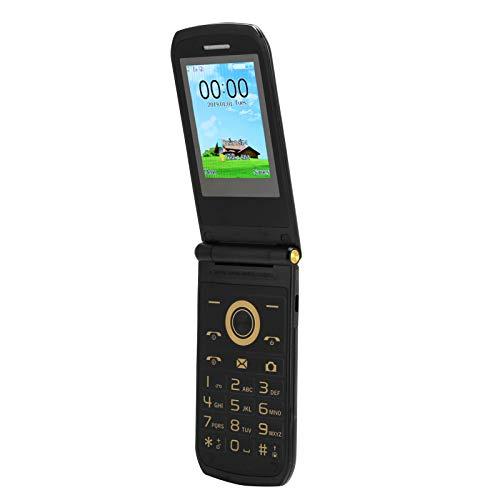 Mini teléfono móvil con tapa de 2,4 pulgadas, 2G E7 GSM, teléfono móvil de doble modo de espera, 32 MB + 32 MB, varios idiomas, batería incorporada de 1100 mAh, MTK 6261D, teléfono móvil negro(Negro)